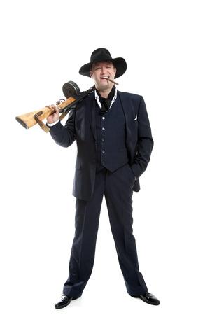 businessman smoking a cigar with a gun on a white background