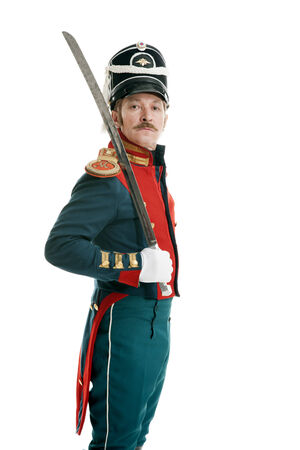 guardsman with saber on white background