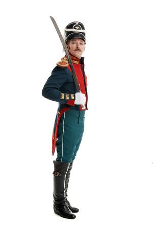 sabel: guardsman met sabel op een witte achtergrond