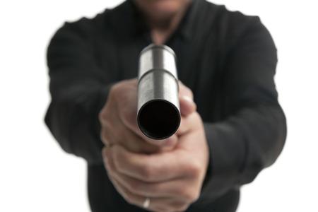man holding gun,isolated on white background