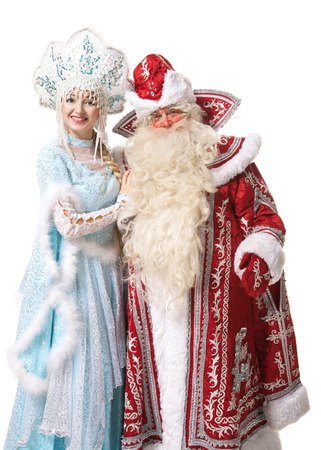 russian Christmas characters Ded Moroz (Father Frost) and Snegurochka (Snow Maiden) photo