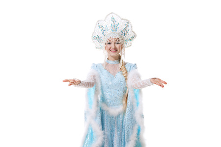 snegurochka: girl dressed in traditional russian christmas costume of Snegurochka (Snow Maiden), isolated on white background Stock Photo