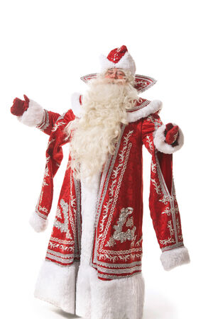 ded moroz: santa claus or russian ded moroz on white background Stock Photo