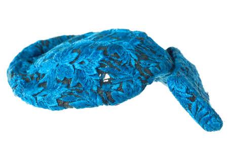 blue velvet: stylish fashion elegant blue velvet hat isolated on white background