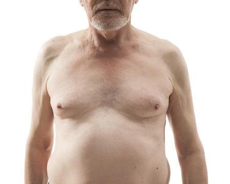 naked: nackt älterer Mann mit nackten Oberkörper isoliert auf weißem Hintergrund Lizenzfreie Bilder