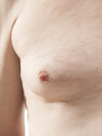 nipple breast: elderly male naked torso nipple Stock Photo
