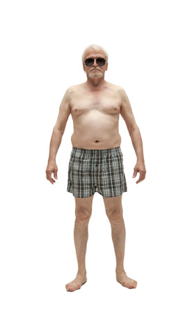 naked belly: Naked senior man with belly isolated on white background