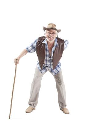impair: Full length portrait of a senior man walking with cane isolated on white background Stock Photo