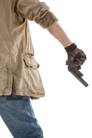 gun man: Back view of man in black glove with a gun in hand isolated on white background