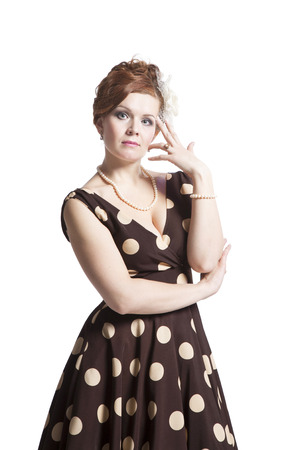 retro woman: Retro woman in vintage polka dots dress