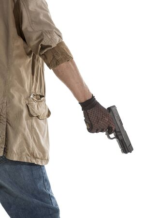 black gloves: Man in black gloves with a gun in hand isolated on white background