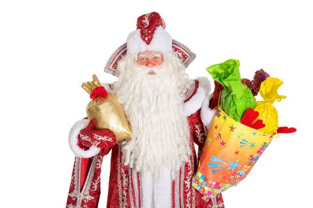 'ded moroz': Santa chlaus or russian ded moroz on white background