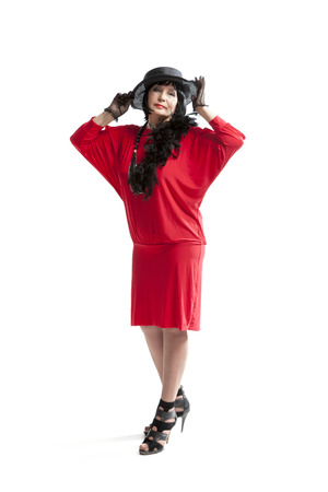 silent film: beautiful retro woman in red dress  on white background retro hat