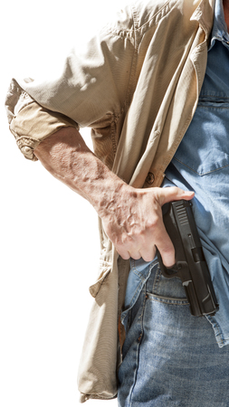 hand gun: Man with a gun in his hand isolated on white background Stock Photo