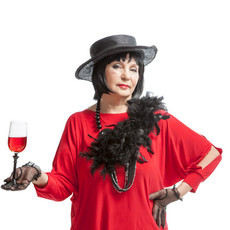 silent film: beautiful retro woman  drinking wine on white background