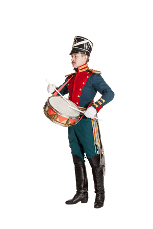 regiment: drummer honor guard on white background
