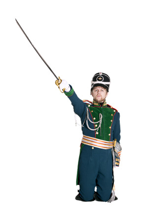 The officer of the Guards Jaeger Regiment. Nineteenth Century. Honorary military guard. Stock Photo