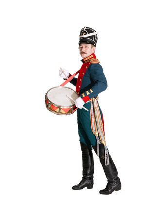 The officer Dragoons, drummer honor guard Stock Photo