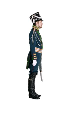 sentry: The officer of the Guards Jaeger Regiment. Nineteenth Century. Honorary military guard. Stock Photo