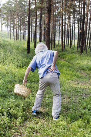 腰痛をもつ老人公園を散歩。背中の痛みの突然の発作。 写真素材