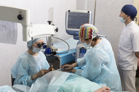 crystalline lens: Lasik - laser correction for vision - ophthalmology surgery for eyes Stock Photo