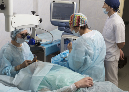 crystalline lens: Phacoemulsification, destruction of the opaque lens by ultrasound, ophthalmic eye surgery. eye lens replacement, intraocular lens installation, surgical cataract treatment in Russia in Ulan-Ude.