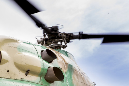 Rotating rotor of the helicopter close-up 版權商用圖片