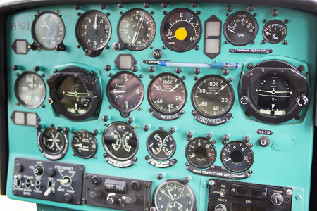 Kyren, Russia, Republic of Buryatia - July 01, 1917. The flight of the helicopter MI 2. Type of dashboard.