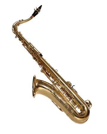 Saxophone - brass musical instrument, close to the clarinet in timbre, cut out on a white background Stock Photo