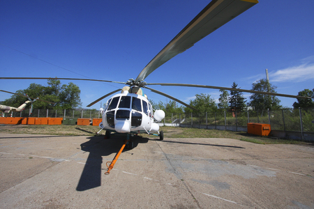 Russian helicopters at the exhibition site of the manufacturer