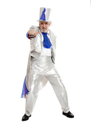 magician showing thumb sign on white background