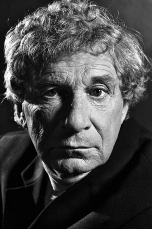 Artistic black and white portrait of an elderly theater actor