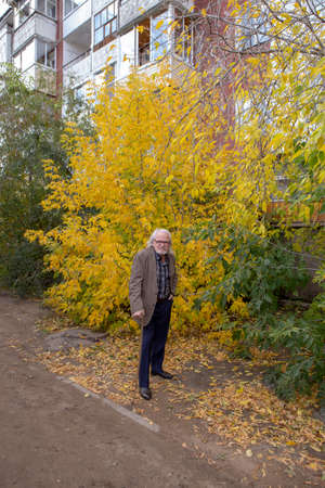 A lame old man walks bending through the forest leaning on a stick Stock fotó