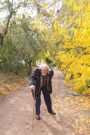 A lame old man walks bending through the forest leaning on a stick