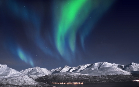 fjords: Beautiful Aurora above fjords near Skibotn, Norway Stock Photo