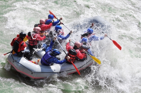 team power: Rafting, extreme and fun sport