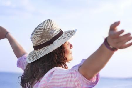 Free happy woman enjoying