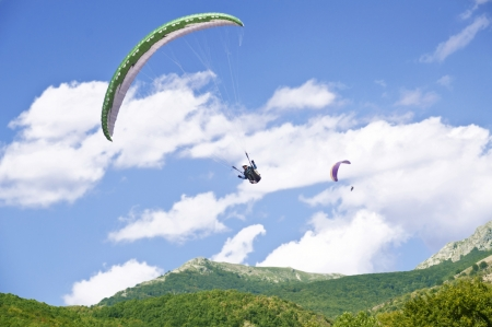 Paragliding as extreme and fun sport photo