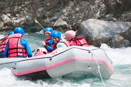 Rafting as extreme and fun sport photo