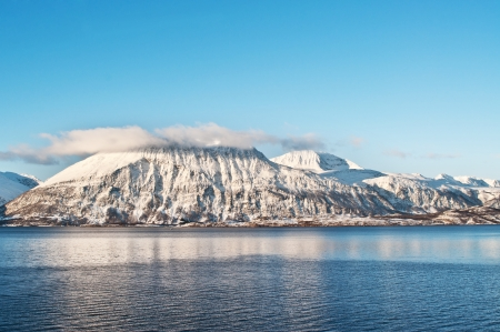 Winter fjords landscape, captured in northern Norway Stock Photo