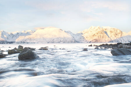 fjords: Winter fjords landscape, captured in northern Norway Stock Photo