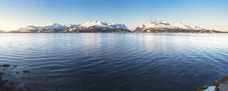 Hi-res panorama of Norwegian fjords into the sea  1 2 5 Ratio