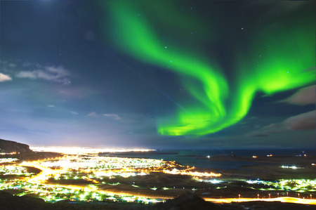 iceland: Northern lights above Reykjavik Iceland