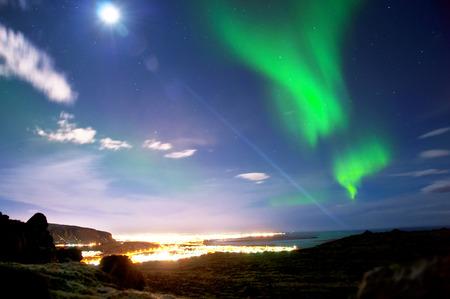 Northern lights above Reykjavik Iceland photo