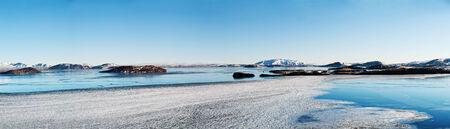 fjords: Icelandic landscape panorama 1x3 5 Ratio Stock Photo
