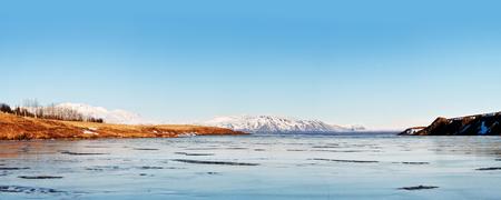 fjords: Icelandic winter landscape panorama 1x2 5 Ratio Stock Photo