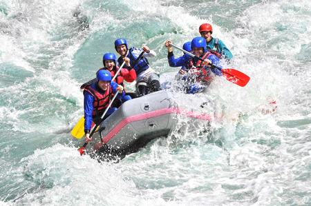 White water Rafting as extreme and fun sport Stock Photo