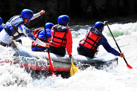 White water Rafting as extreme and fun sport Standard-Bild