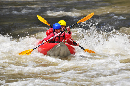 White water team kayaking photo