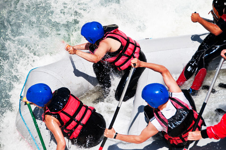 whitewater: Rafting as extreme and fun sport, captured from above